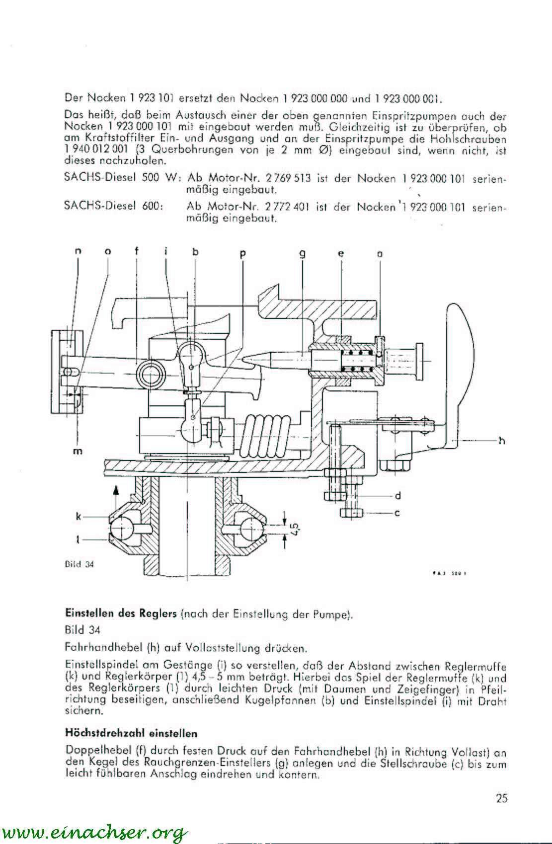 Sachs Diesel D 500 W ReperaturHandbuch Nr.522.8